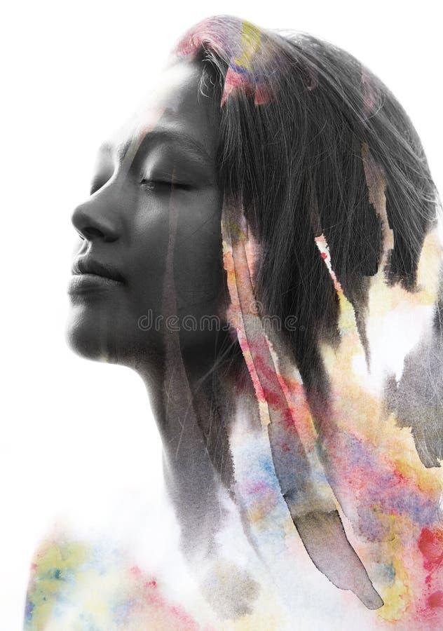 Paintography, portret van een jonge vrouw met zachte eigenschappen en F royalty-vrije illustratie
