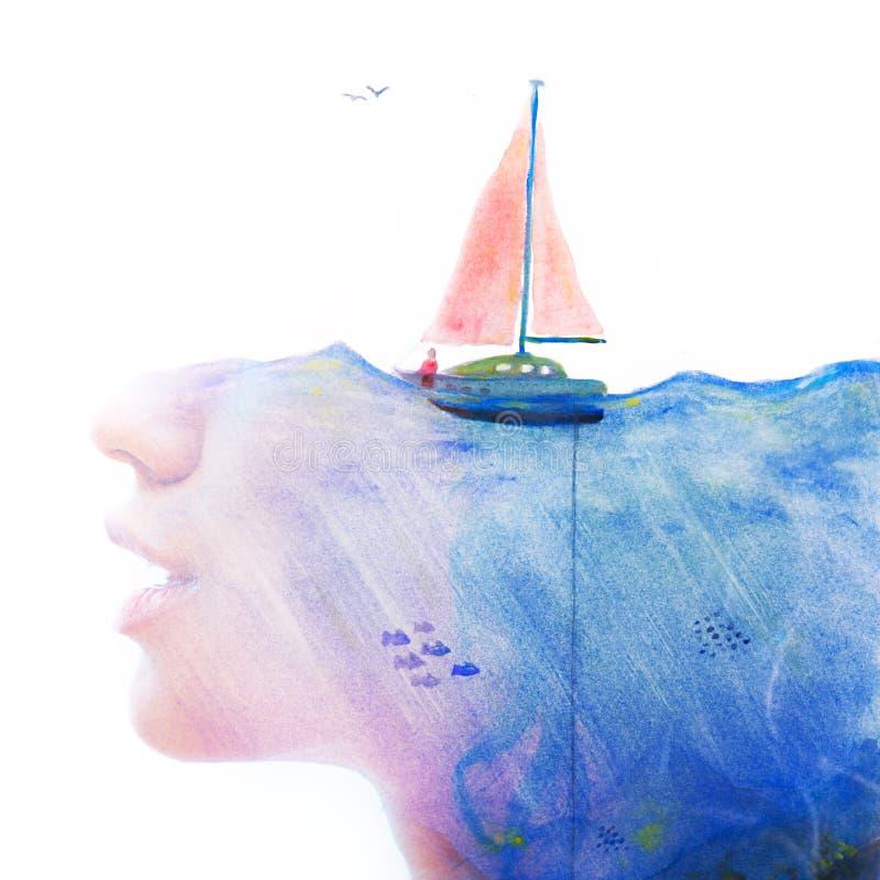 Paintography Retrato combinado com o paintin surreal do watercolour ilustração royalty free
