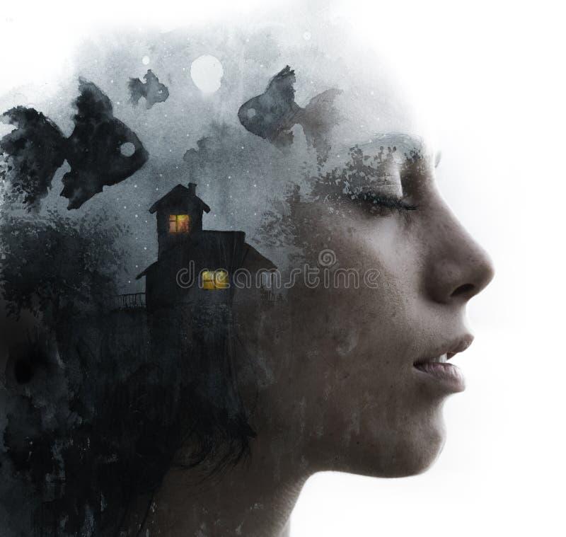Paintography Retrato de la exposición doble de una muchacha combinada con la pintura del watercolour de la casa y pescar sobre el ilustración del vector