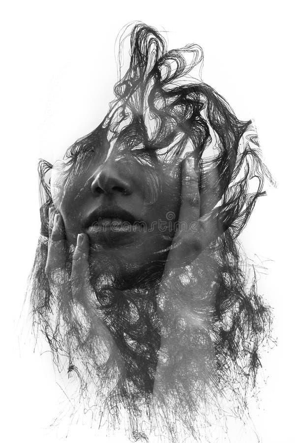Paintography Retrato jovem mulher atrativa de uma sagacidade combinada imagem de stock