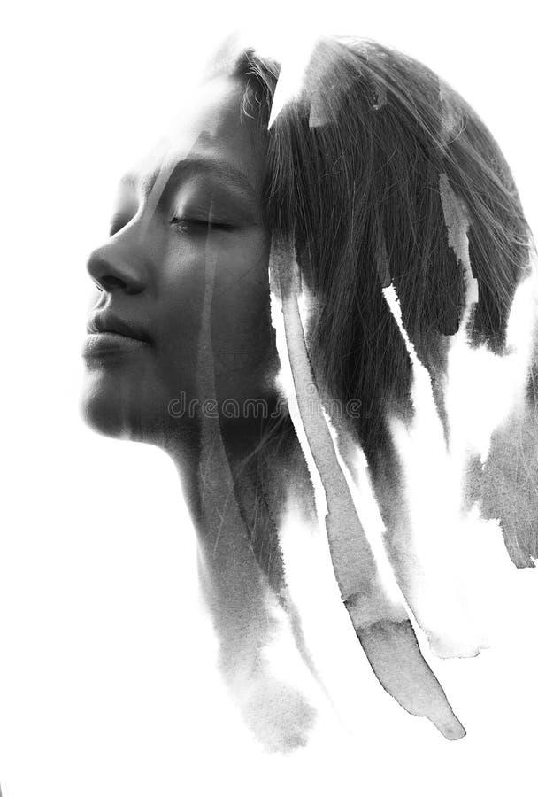 Paintography, ritratto in bianco e nero di una giovane donna con il SOF immagini stock libere da diritti