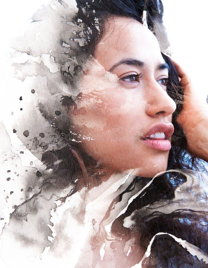 Paintography, schilderen gecombineerd met een portret van verleidelijk e vector illustratie