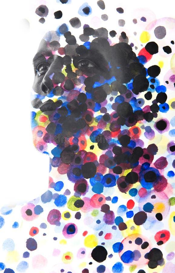 Paintography Sluit omhoog van de mens met sterke eigenschappen en onberispelijk vector illustratie