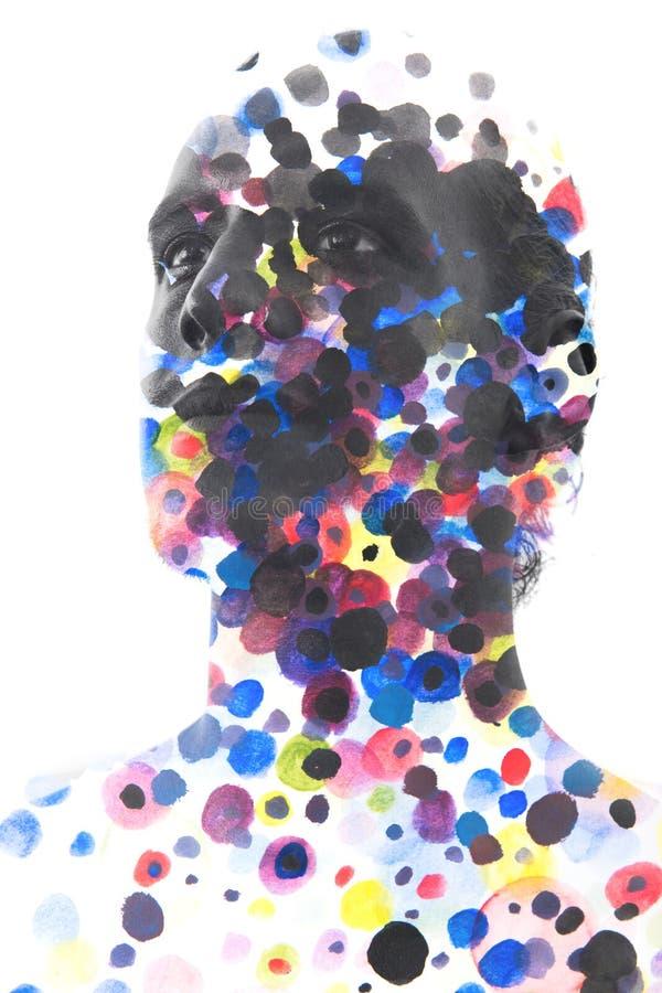 Paintography Sluit omhoog van de mens met sterke eigenschappen en onberispelijk stock illustratie
