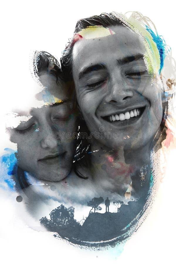 Paintography, twee unieke die foto's met hand-drawn pa worden gecombineerd vector illustratie