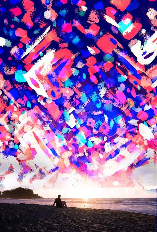Paintography, a-uitbarsting van kleurrijke die brushtrokes met wordt gemengd vector illustratie