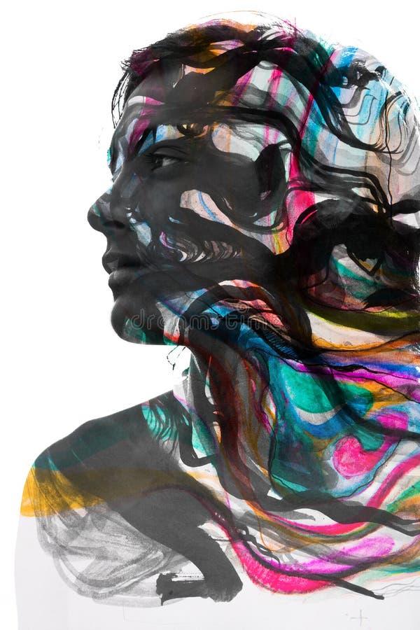 Paintography van een aantrekkelijk sexy die model met hand wordt gecombineerd trekt stock illustratie