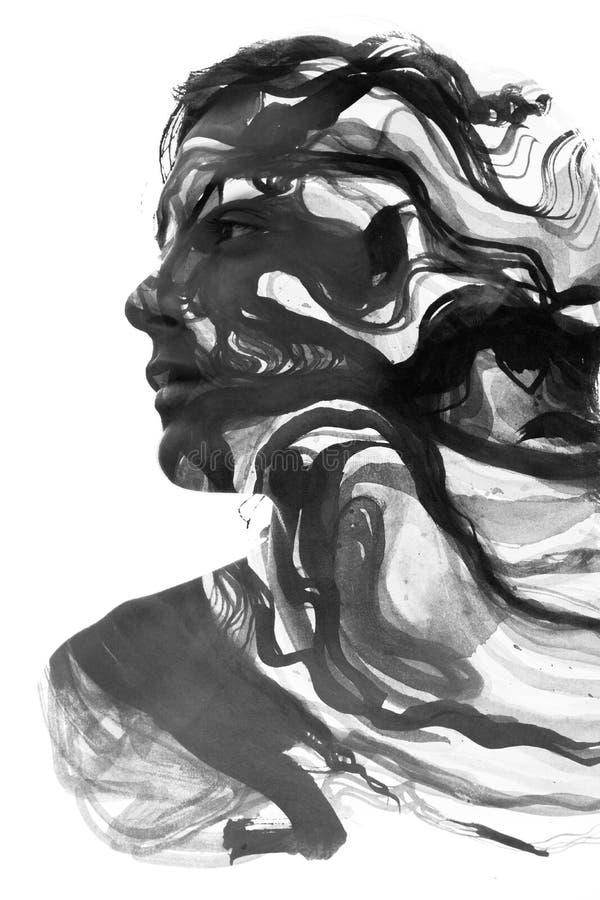 Paintography van een aantrekkelijk sexy die model met hand wordt gecombineerd trekt royalty-vrije illustratie