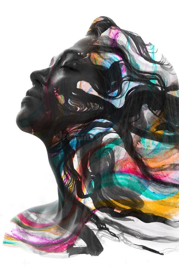 Paintography van een aantrekkelijk vreedzaam die model met hand wordt gecombineerd stock illustratie