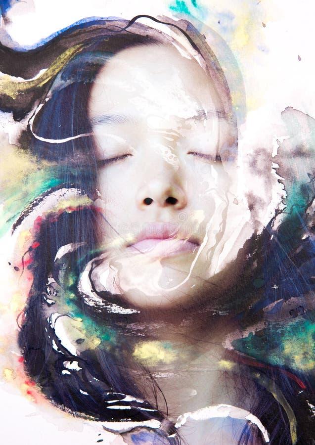 Paintography van een aantrekkelijk vreedzaam die wijfje met hand wordt gecombineerd stock illustratie