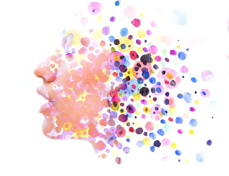 Paintography van een sterk aantrekkelijk die model met handdr. wordt gecombineerd vector illustratie