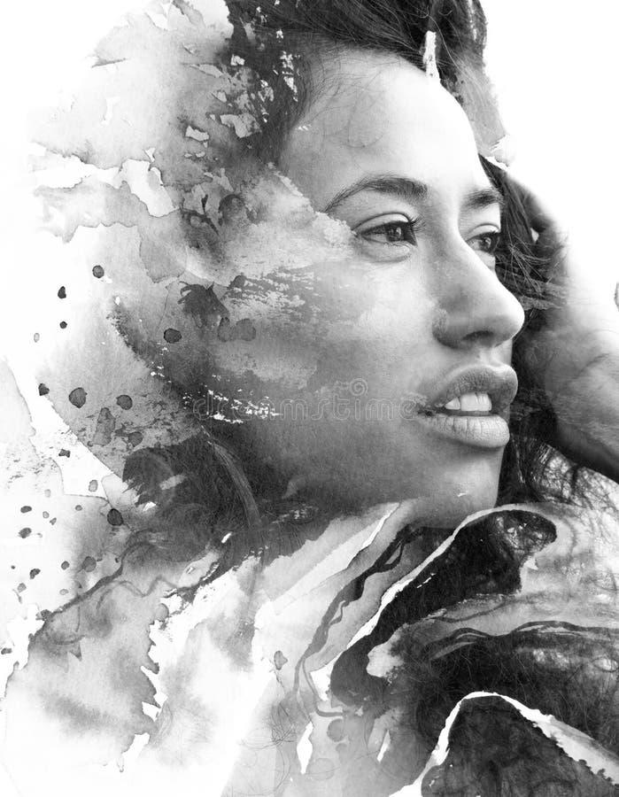 Paintography in zwart-wit, schilderen gecombineerd met een portra stock illustratie