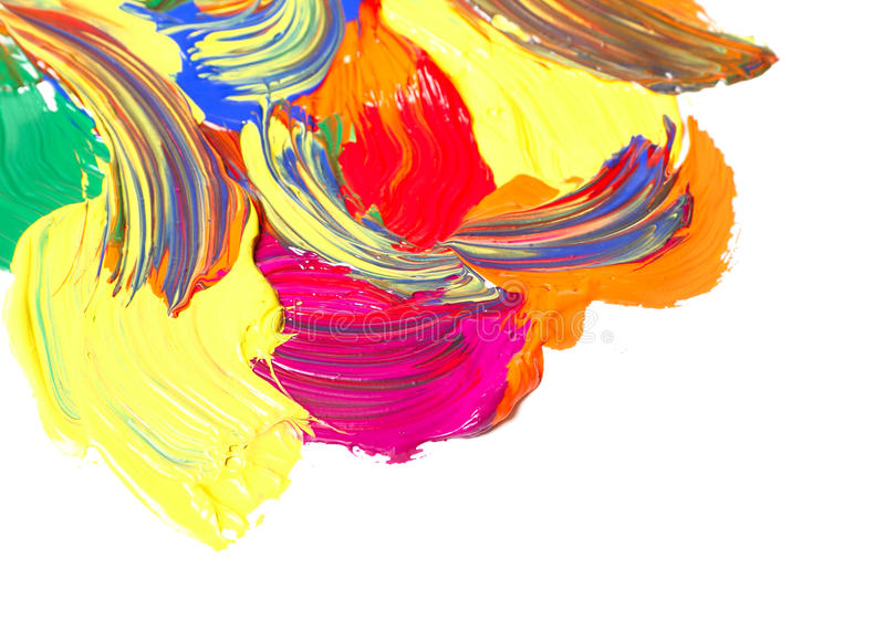 Paints. Abstract multicolor gouache paint, isolated on white stock photo