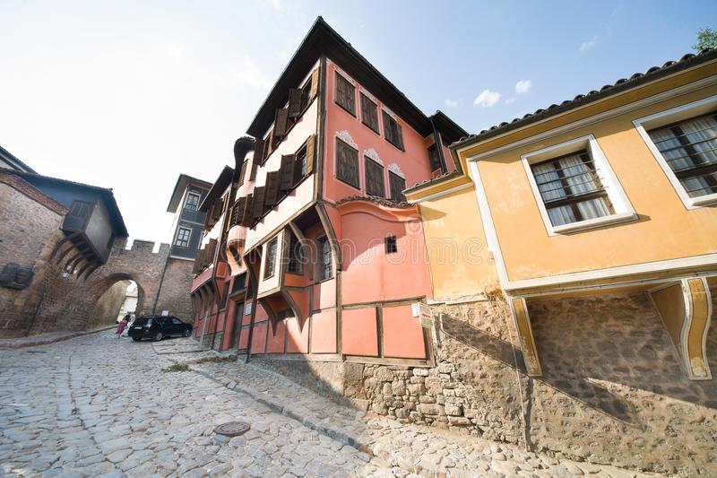 Paints Bulgarian architecture in Plovdiv stock photography