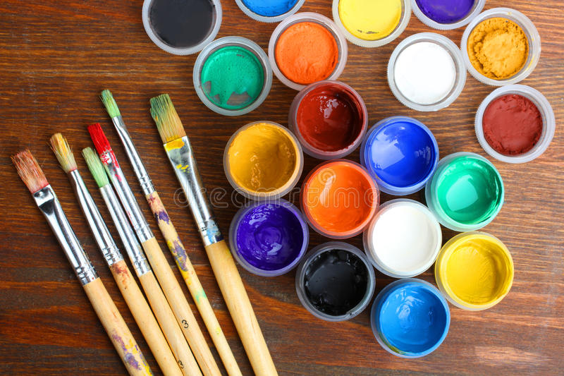 Paints for drawing brushes stock photo