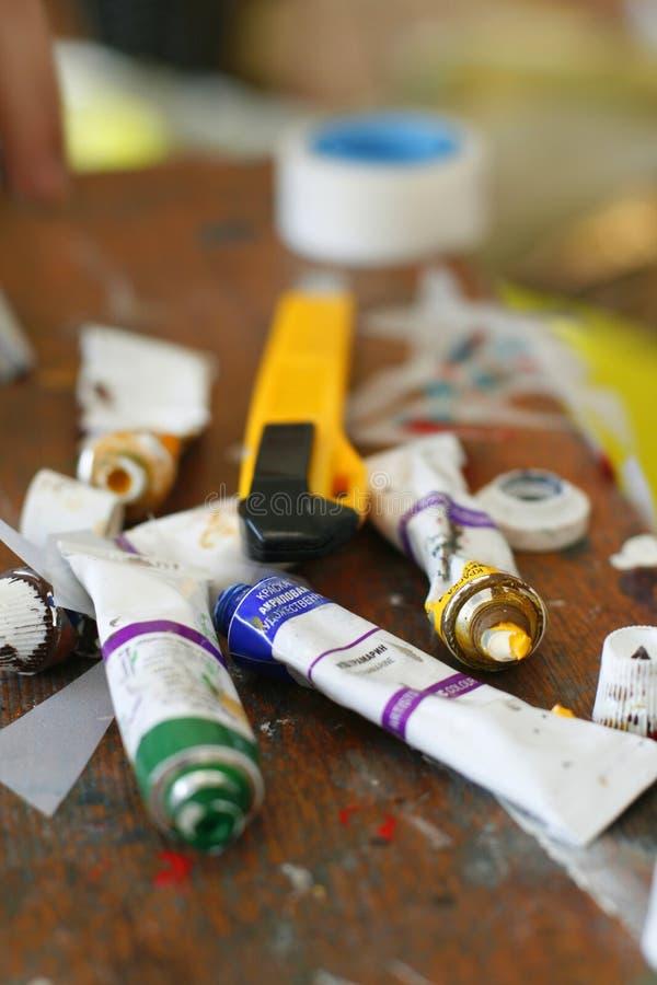 Paints tubes stock images