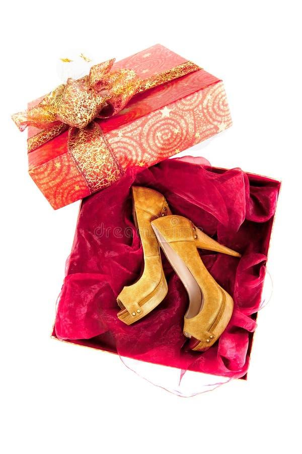 Paio di scarpe in casella immagini stock