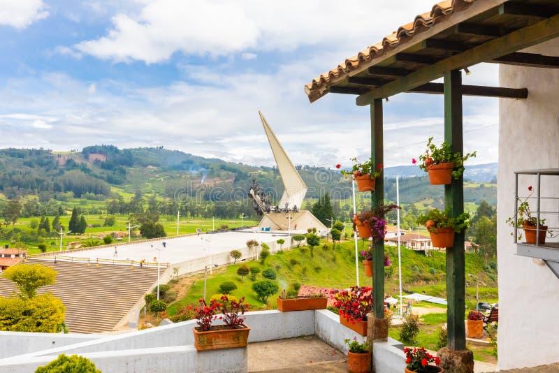Paipa Kolumbia Pantano Vargas pomnikowy panoramiczny widok zdjęcia royalty free