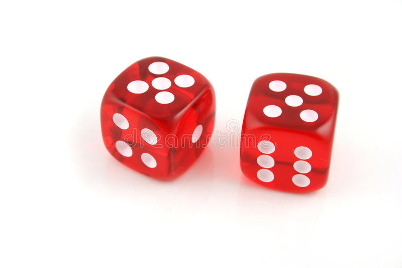 Pair of 5s. 2 Dice close up- Pair of 5s stock images