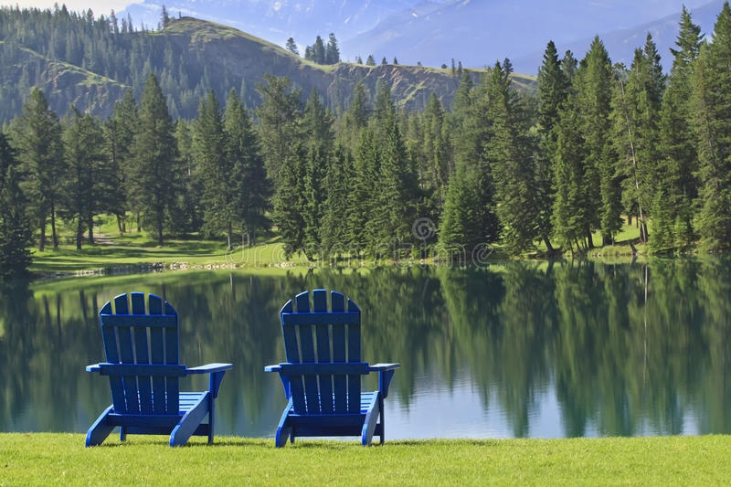 Pair Of Adirondack Chairs Overlooking Beaufort Lake Near Jasper, Canada