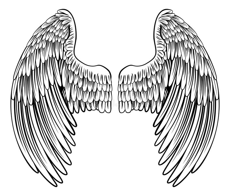 Pair of Angel or Eagle Wings royalty free illustration