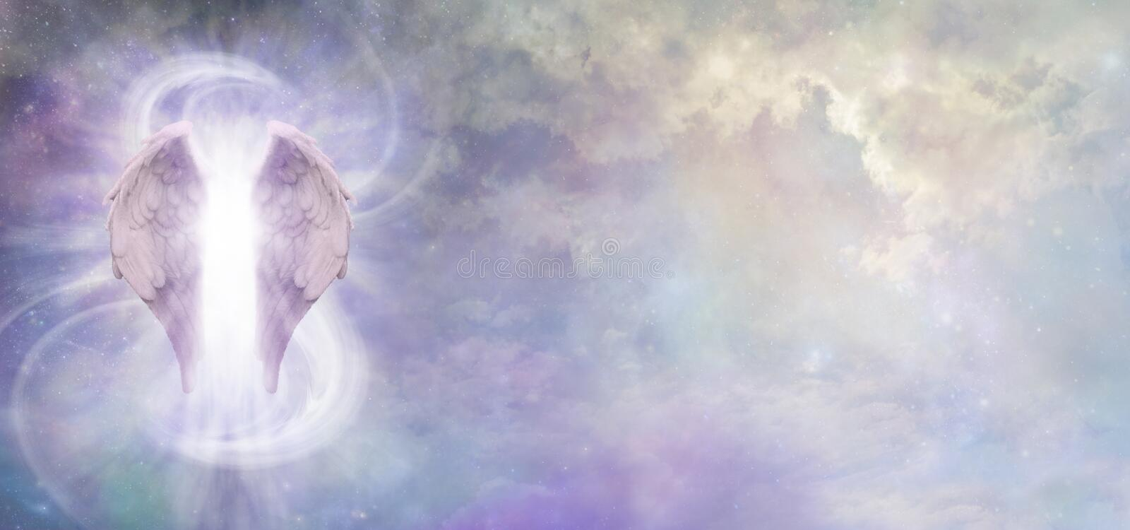 Guardian Angel Spirit Skyscape Banner. A pair of Angel Wings with a swish of white energy behind set against a wide cosmic Universe background with copy space stock images