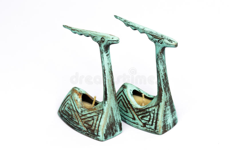 Download Pair Of Antique Earthenware Candle Sticks Stock Image - Image of handcraft, style: 36625605