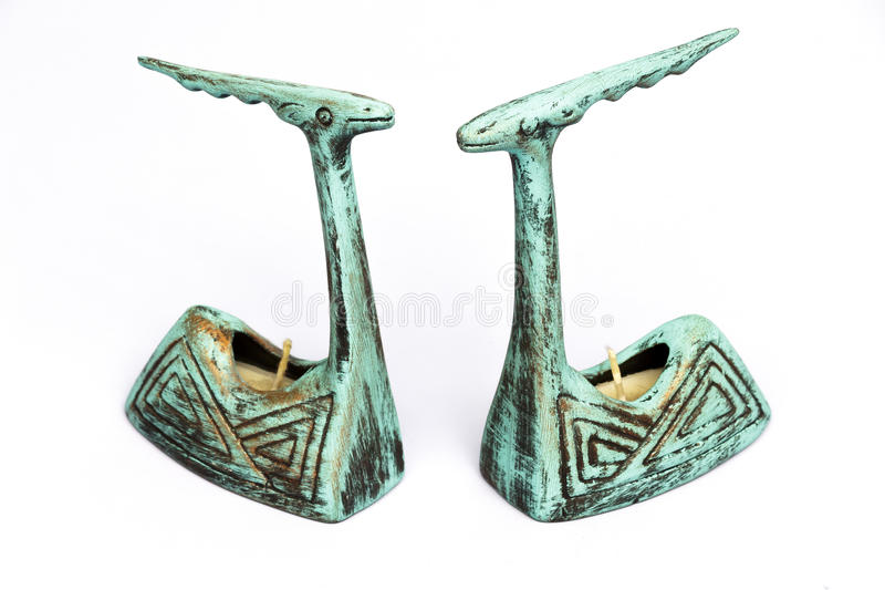 Download Pair Of Antique Earthenware Candle Sticks Stock Images - Image: 36625634