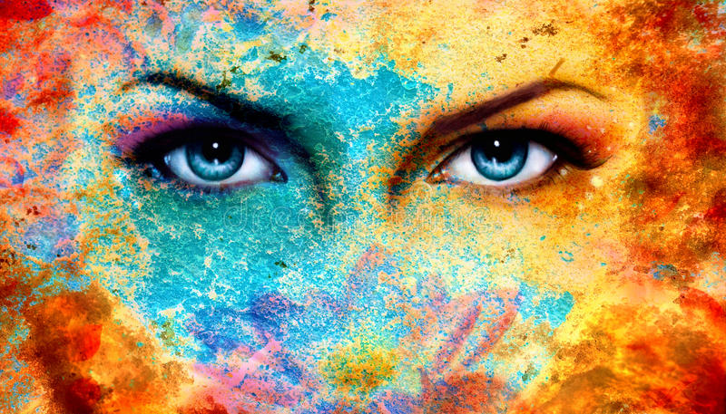 A pair of beautiful blue women eyes beaming, color rust effect,. Painting collage, violet makeup stock photos