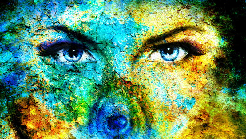 Pair of beautiful blue women eyes looking up mysteriously from behind a small rainbow colored peacock feather, texture collage wit royalty free illustration
