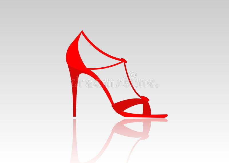 Pair of beautiful red high heels. Female fashionable leather shoes, isolated vector illustration