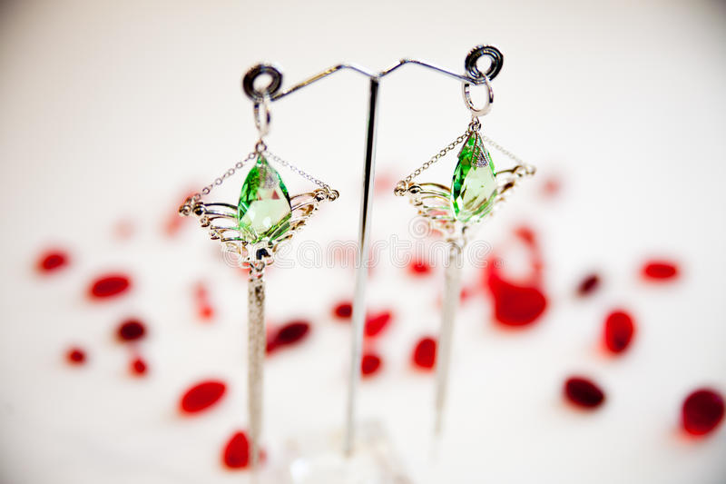 Pair of Beautiful silver Earrings with gemstones on the natural background stock photography