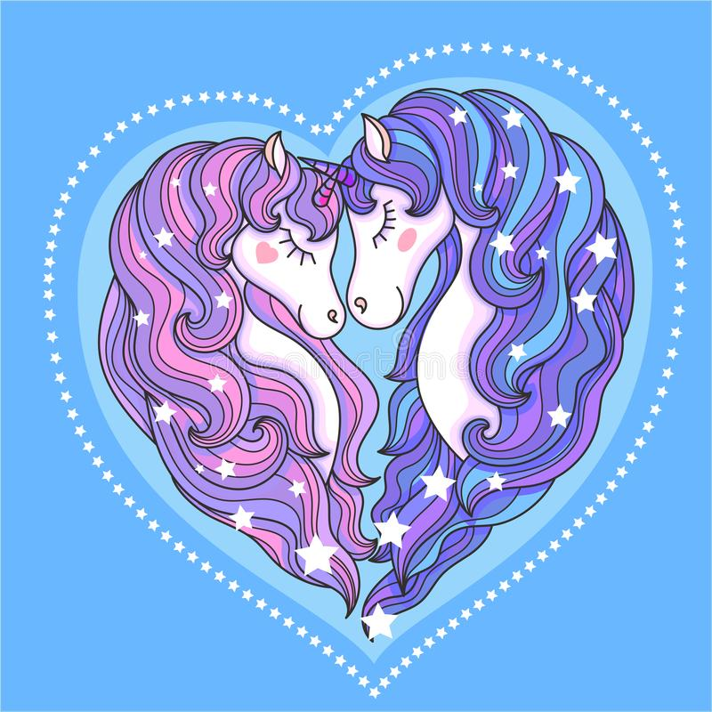 A pair of beautiful unicorns with a long mane against a blue background. Vector. A pair of beautiful unicorns with a long mane against a blue background. In the vector illustration