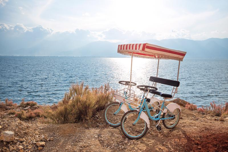Pair bicycle. Beside the sea stock image