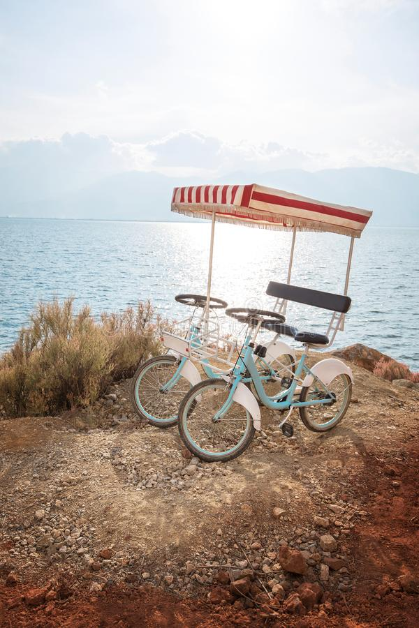 Pair bicycle. Beside the sea stock photo