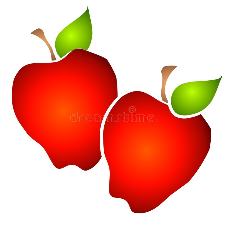 Pair Of Big Red Apples Clipart Royalty Free Stock Images