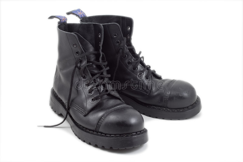 Pair of black boots stock image