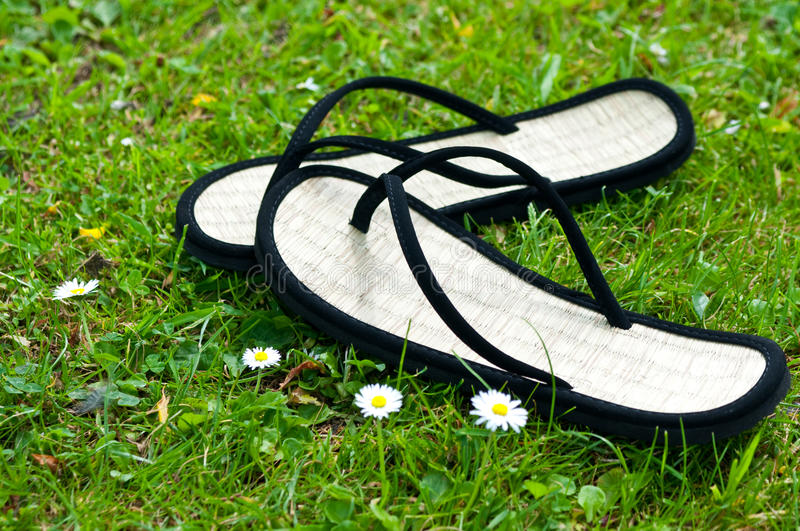 A pair of black flip flops. On grass royalty free stock image