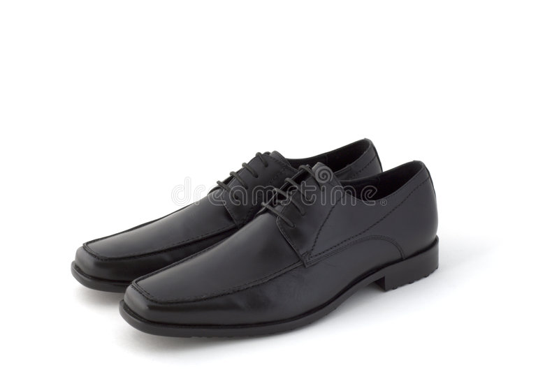 Pair of black man's dress shoes royalty free stock photo