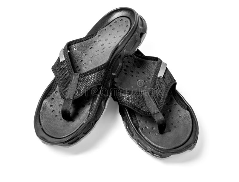 Pair of black mens flip flops royalty free stock photography