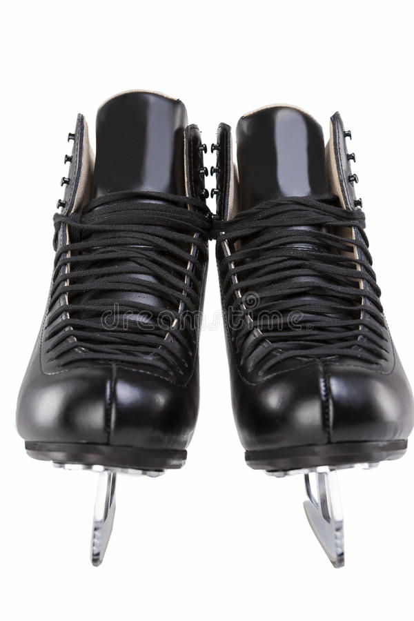 Pair of Black Professional Figure skates With Sharp Blades Over royalty free stock photos