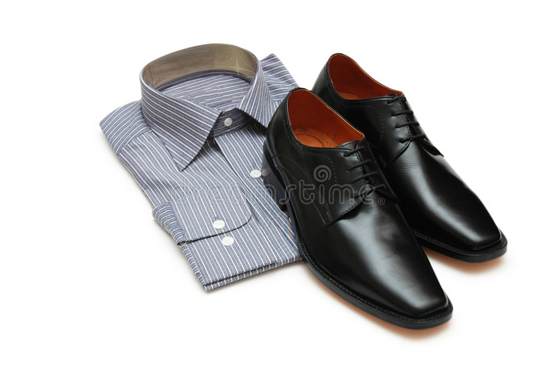 Pair Of Black Shoes And New Sh Royalty Free Stock Images