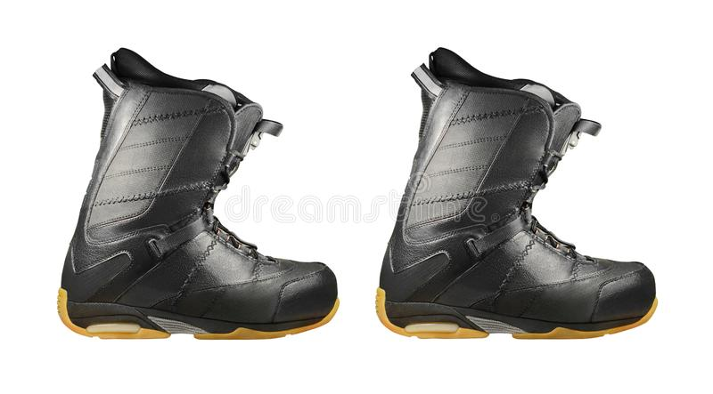 Black snowboard boots isolated on white royalty free stock image