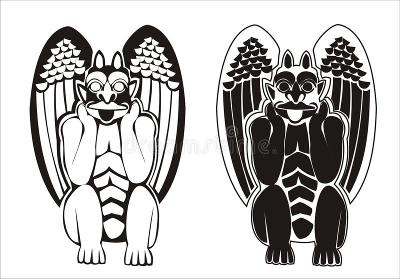 Download A Pair Of Black And White Gargoyles Stock Vector - Image: 12363086