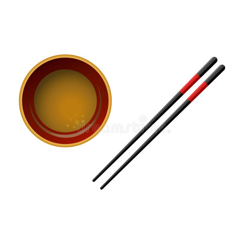 Pair of black wooden chopsticks with red lines and bowl with soy sauce isolated on white background. vector illustration
