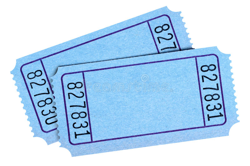 Pair of blank blue movie or raffle tickets isolated on white background. Space for copy. stock photography