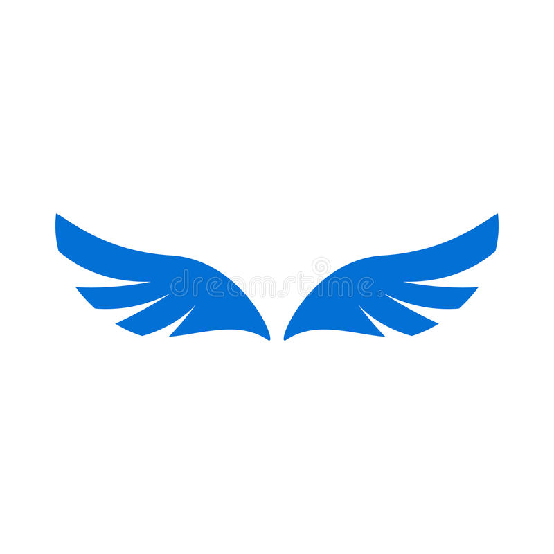 A pair of blue angel wings icon, simple style royalty free illustration