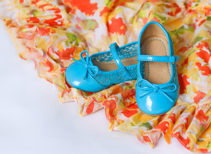 Pair of blue dancing shoes stock photos