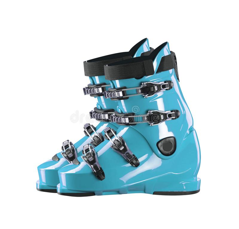 Pair blue-dark ski shoe isolated on white. Background royalty free stock photos