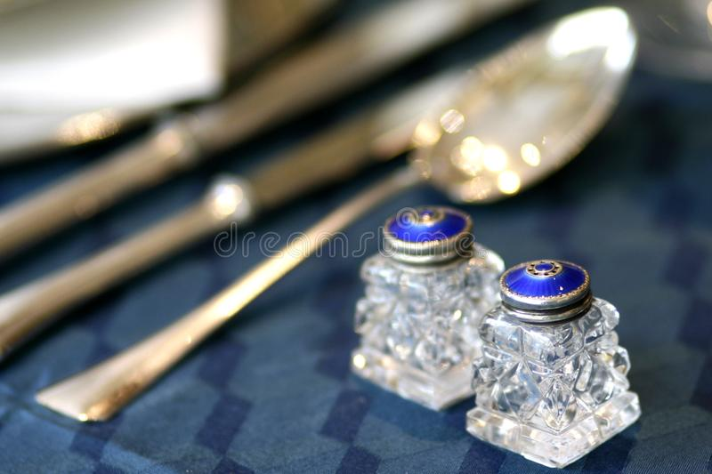 Blue enamel and crystal art deco salt and pepper shakers still life royalty free stock photo